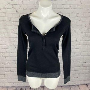 AE Black and Silver LS Henley with Shimmer…
